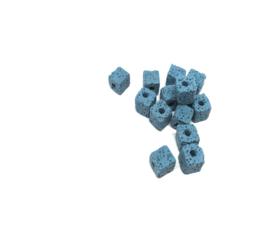 Blauwkleurige kubus kralen