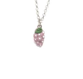 Minimalistische schakelketting met paarse hanger