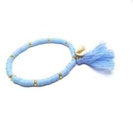 Blauwe kralen armband - Afrikaanse style