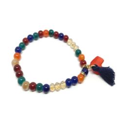 Rode en donkerblauwe kralen armband