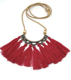 Imitatieleer ketting met vintage bronzen hanger