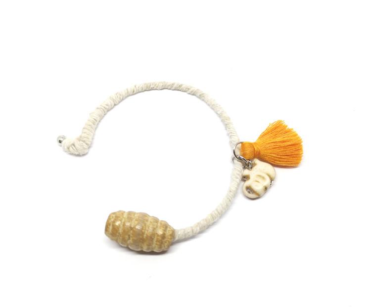 Cuff armband-Oranje en beige