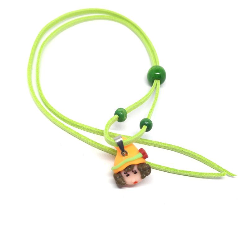 Leuke oranje en groene skwairlie ketting