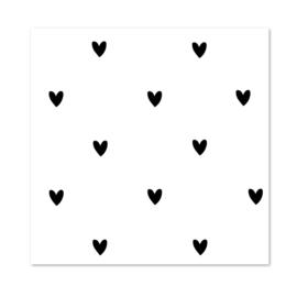 Inpakpapier per 10 rollen   HEARTS Black & White