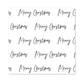 Inpakpapier   Black & White   Merry Christmas   Per 10 rollen