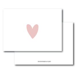 Minikaart Heart Pink | Per 6 stuks