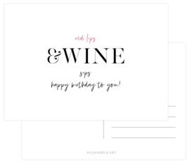 Red lips & wine sips.. HAPPY BIRTHDAY! per 6 stuks