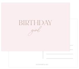 Birthday GIRL  met rose goudfolie per 6 stuks