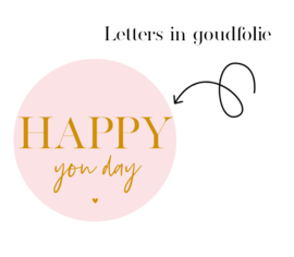 500 stickers   Happy you day    SOFT pink