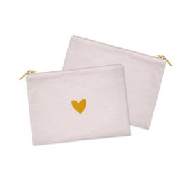 Cosmetic Bag / Etui  | Pink & a Heart of GOLD | Per 5 stuks