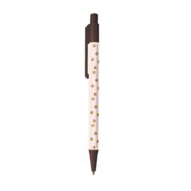 Pen | Brown & Some cute Dots  | Per 5 stuks
