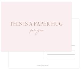 This is a paper HUG  met rose goudfolie per 6 stuks