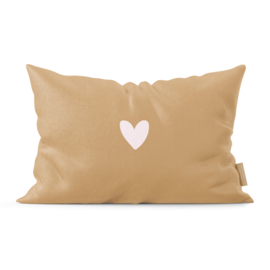 Pretty Pillow | Brown & a Pink Heart  | Per 3 stuks