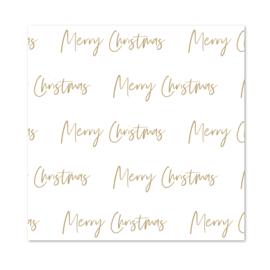 Inpakpapier   White  & Brown   Merry Christmas   Per 10 rollen