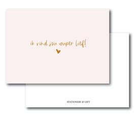 Minikaart Ik vind jou super lief  | Per 6 stuks