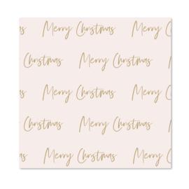 Inpakpapier   Pink & Brown   Merry Christmas   Per 10 rollen