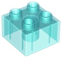 Duplo blokken 2x2 - bouwstenen doorzichtig lichtblauw