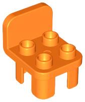 Duplo stoel oranje met ronde leuning