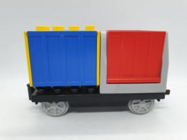 Duplo trein wagon rood blauwe contrainers
