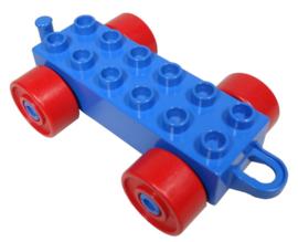 Duplo auto/trein aanhanger 2x6 blauw met rode wielen en gesloten haak