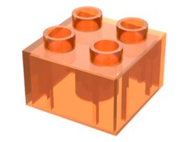 Duplo blokken 2x2 - bouwsteen doorzichtig oranje