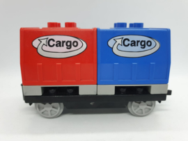 Duplo trein wagon rood blauwe cargo
