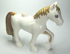 Duplo paard wit met goude manen en staart