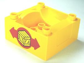 Duplo trein wagon - silo container geel met krat logo