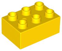 Duplo blokken : 2x3 duplo blokje geel