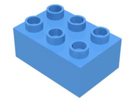 Duplo blokken : 2x3 duplo blokje lichtblauw