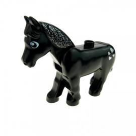 Duplo paard zwart met hartjes en glitters
