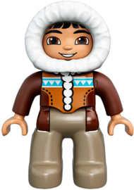 Duplo poppetje man, eskimo, beige broek, parka met capouchon, bruine ogen  nieuw