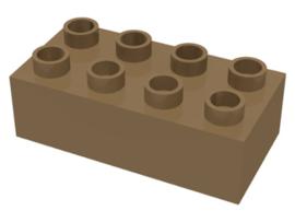 Duplo blokken 2x4 - bouwstenen donker beige