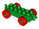 Duplo auto/trein aanhanger 2x6 groen met rode wielen