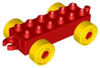 Duplo auto/trein aanhanger 2x6 rood met gele wielen met bouten