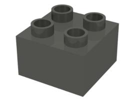 Duplo blokken 2x2 - bouwstenen donker grijs