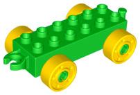 Duplo auto/trein aanhanger 2x6 groen met gele wielen met bouten