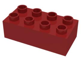 Duplo blokken 2x4 - bouwstenen donker rood