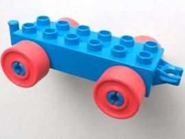 Duplo auto/trein aanhanger 2x6 blauw met rode wielen