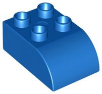 Duplo blokken  2x3 met gecurvde bovenkant blauw