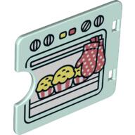 Oven deur licht aqua met inkeping nieuw