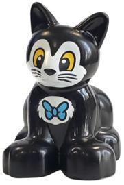 Duplo poes - kat  zwarte kitten met vlinder stropdas