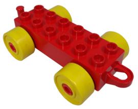 Duplo auto/trein aanhanger 2x6 rood met gele wielen en gesloten haak