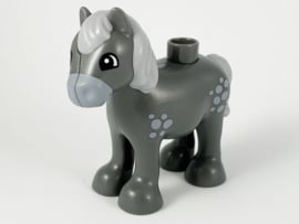 Duplo paard  veulen donker grijs met licht grijs stippen