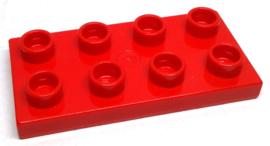 Duplo bouwplaat 2 x 4 x 1/2 rood