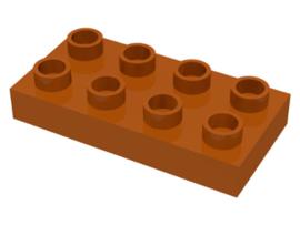 Duplo bouwplaat 2 x 4 x 1/2 donker oranje - licht bruin