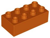 Duplo blokken 2x4 - bouwstenen donker oranje - bruin