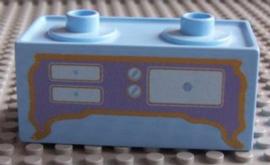 kookblok met gaskookplaten en oven lichtblauw