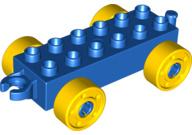 Duplo auto/trein aanhanger 2x6 blauw met gele wielen met bouten