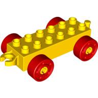 Duplo auto/trein aanhanger 2x6 geel met rode wielen met bouten